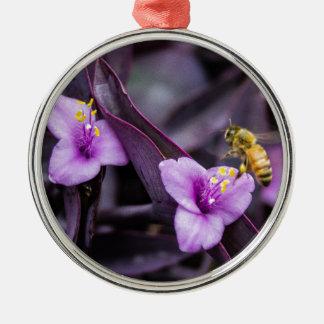 Biene auf Blume Silbernes Ornament