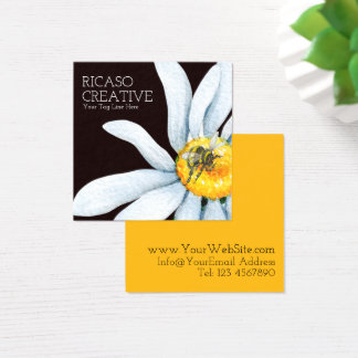 Biene auf Blumekundenspezifischem personalisiertem Quadratische Visitenkarte
