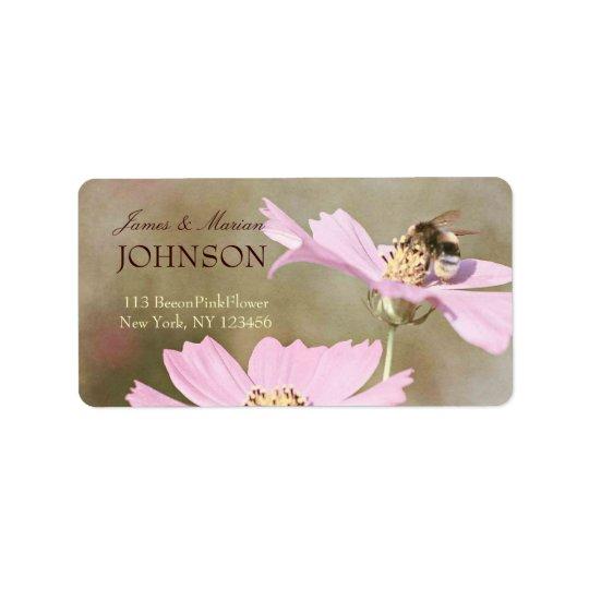 Biene auf rosa Blume Adressaufkleber