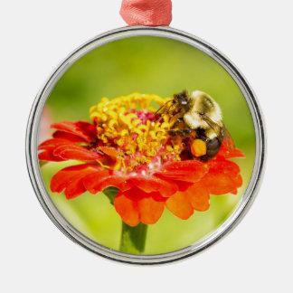 Biene auf roter Blume mit Blütenstaubbeuteln Rundes Silberfarbenes Ornament