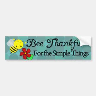 Biene dankbar für die einfachen Sachen, niedliche Autoaufkleber