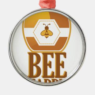 Biene glücklich rundes silberfarbenes ornament