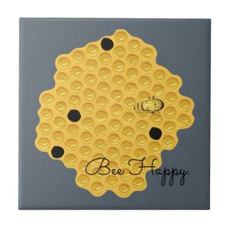 Biene glücklich u. die Bienenwabe Fliese
