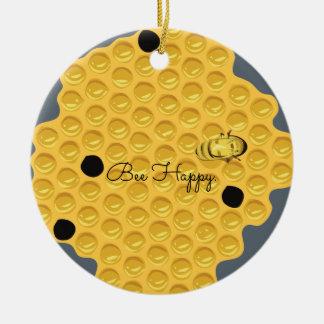 Biene glücklich u. die Bienenwabe Keramik Ornament