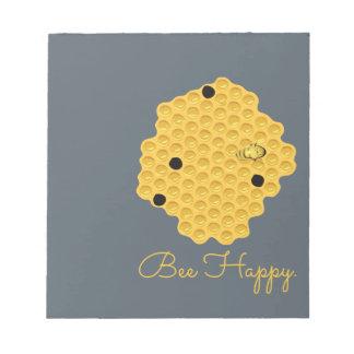Biene glücklich u. die Bienenwabe Notizblock