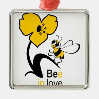 Biene in love2.ai silbernes ornament