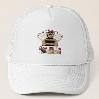 Biene zeigen mir die Honig-T-Shirts und die Truckerkappe
