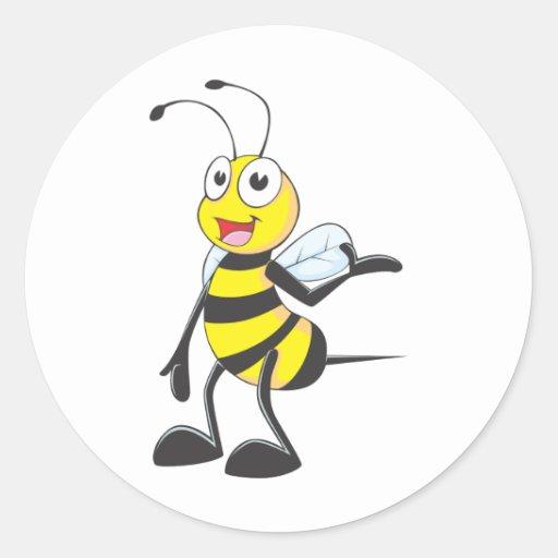 Bienen-Aufkleber: Biene, die mit der Hand oben sic