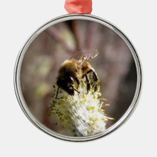 Bienen-Bestäuber Rundes Silberfarbenes Ornament