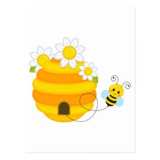 Bienen-Bienenstock Postkarte