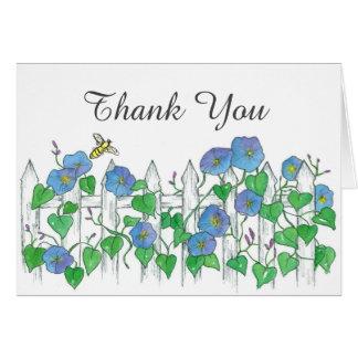 Bienen-danken blaue Winden-Blumen Ihnen Karte