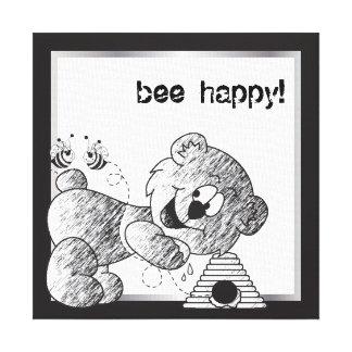 Bienen-glückliche Bärn-Leinwand-Entwürfe Leinwanddruck