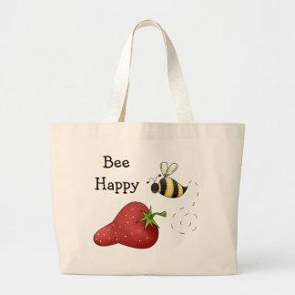 Bienen-glückliche Erdbeerdruck-Kunst Tragetaschen