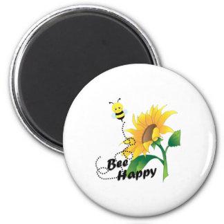 Bienen-glücklicher Magnet mit Sonnenblume Runder Magnet 5,7 Cm