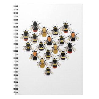 Bienen-Herz-Anmerkungs-Buch Spiral Notizblock