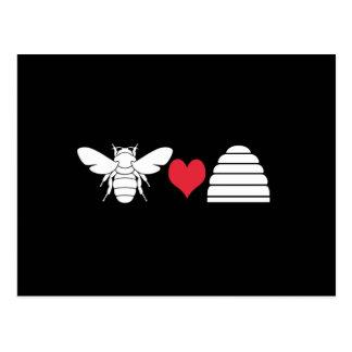 Bienen-Herz-Bienenstock Postkarte