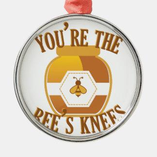 Bienen-Knie Rundes Silberfarbenes Ornament