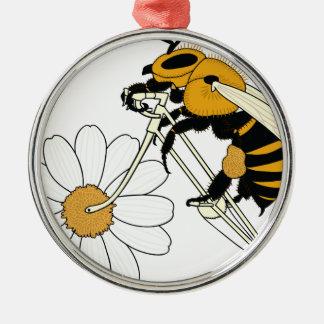 Bienen-Reitfahrrad mit Blumen-Rad Rundes Silberfarbenes Ornament