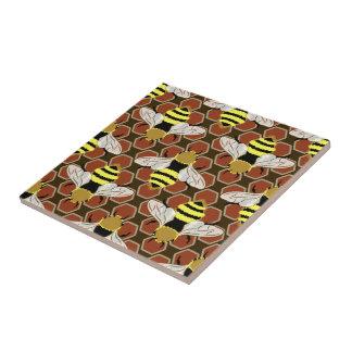 Bienen und Bienenwaben-Muster Keramikfliese
