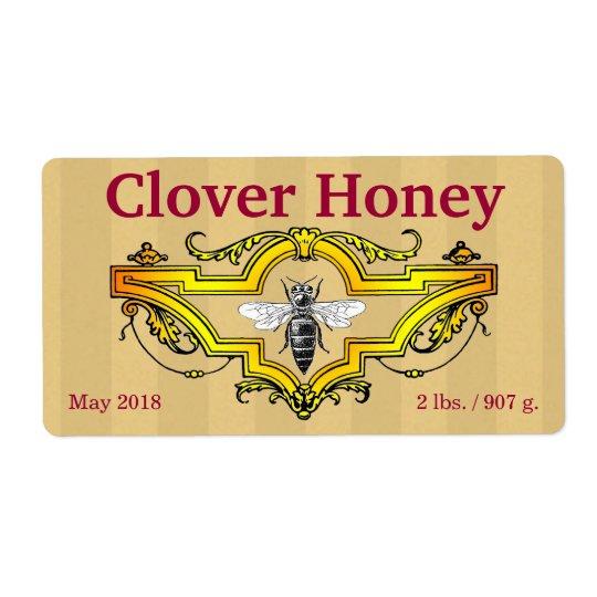 Bienen-und Klee-personalisiertes Honig-Glas Versandetiketten