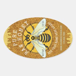 Bienenhaus-Honigbienen-Honig-Glas beschriftet | Ovaler Aufkleber