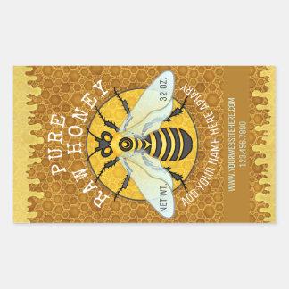 Bienenhaus-Honigbienen-Honig-Glas beschriftet | Rechteckiger Aufkleber