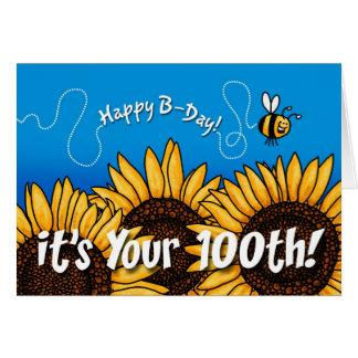 Bienenhintersonnenblume - 100 Jahre alt Karte