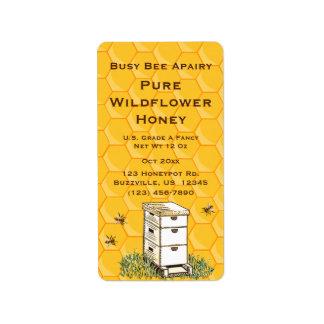 Bienenstock-und Bienenwaben-personalisierte Adressaufkleber