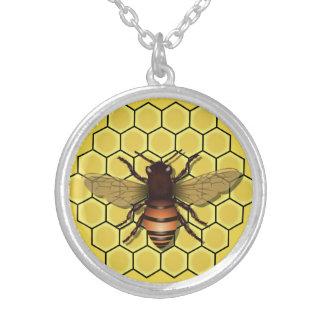 Bienenwabe u. Bienen-Halsketten-u. Anhänger-Gelb Versilberte Kette