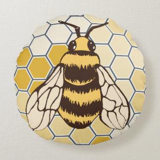 Bienenwaben-Hummel Rundes Kissen
