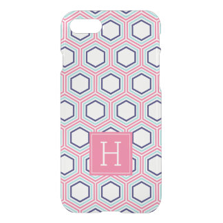Bienenwaben-Muster und rosa Monogramm iPhone 8/7 Hülle