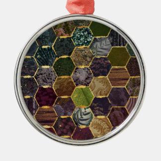 Bienenwabenmeerjungfrauskalen Rundes Silberfarbenes Ornament
