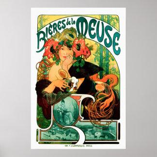 Bier der schönen Kunst Maas Alphonse Mucha Poster