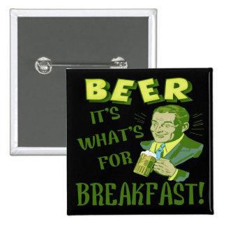Bier für Frühstücks-T - Shirt-Geschenke Quadratischer Button 5,1 Cm