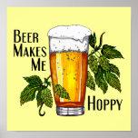 Bier-Glas u. Hopfen mit Text Posterdruck