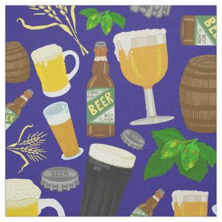 Bier-Glasflaschen-Hopfen und Gersten-Muster-Blau Stoff