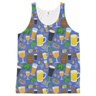 Bier-Glasflaschen-Hopfen und Gersten-Muster Komplett Bedrucktes Tanktop