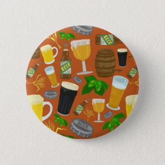 Bier-Glasflaschen-Hopfen und Gersten-Muster Runder Button 5,7 Cm