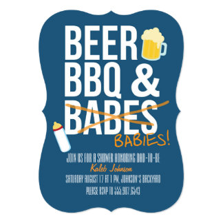Bier, GRILLEN u. das Baby-Dusche des Karte