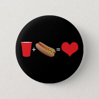 Bier + Hotdogs = Liebe Runder Button 5,7 Cm