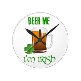 Bier ich bin ich irisch runde wanduhr
