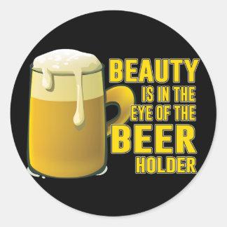 Bier-Liebhaber-trinkender Tassen-Entwurf Runder Aufkleber