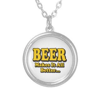Bier macht es besser - lustige Bier-Liebhaber Versilberte Kette