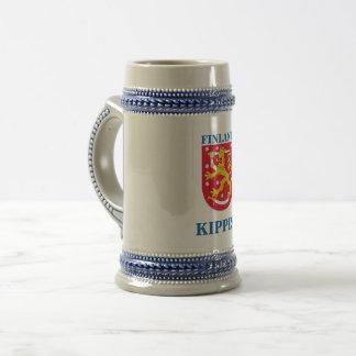 Bier Stein mit finnischem Wappen Bierglas