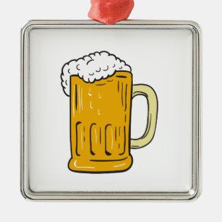 Bier-Tassen-Zeichnen Silbernes Ornament
