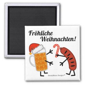 Bier u. Bratwurst - Fröhliche Weihnachten! Quadratischer Magnet