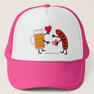 Bier u. Bratwurst - Valentine-Liebe-Herzen Truckerkappe