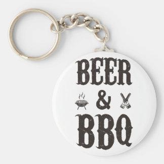 Bier und GRILLEN Standard Runder Schlüsselanhänger