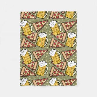 Bier-und Pizza-Grafik-Muster Fleecedecke