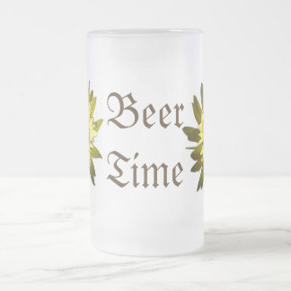 Bier-Zeit-Gelb-Blumen-mattierte Tasse